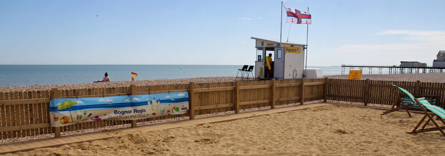 The large beach on a beach children's sandpit on East beach